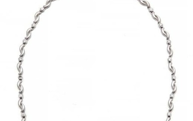 A diamond and 18k white gold necklace
