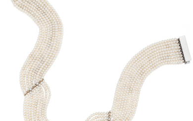 A diamond and seed pearl choker-necklace