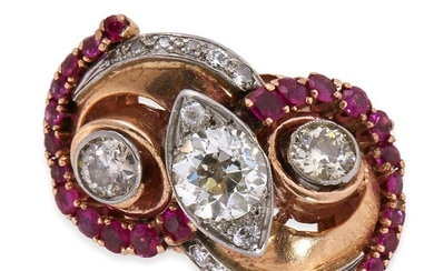 A fourteen karat rose gold, diamond, and ruby ring...