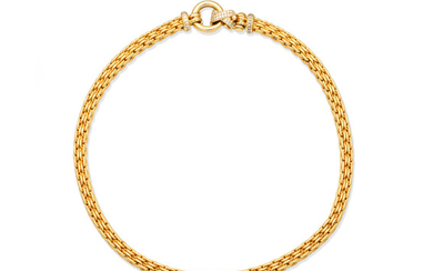 A gold and diamond necklace,