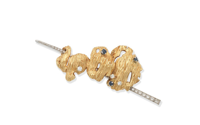 A gold, sapphire and diamond brooch,