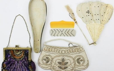 A group of vintage handbags and fan