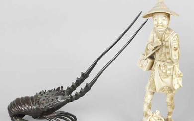 A late 19th century carved ivory okimono modelled as a male in traditional dress, together with a bronze modelled as a crayfish, etc.