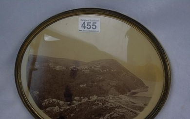 A late Victorian oval gilt framed photo of Lynton and Lynmou...