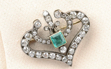 A late Victorian silver and gold, emerald and old-cut diamond brooch/ pendant.