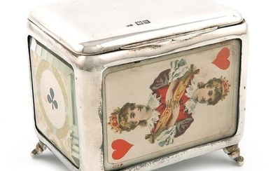 A late-Victorian silver playing cards box, by Grey and Co, London 1899, rectangular form, plain silver mounts, the sides set with the Queen of Hearts and Jack of diamonds under glass the ends with the Ace of Spades and Clubs, red leather lined...