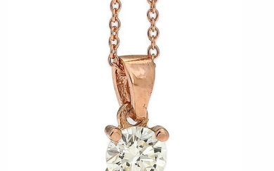 NOT SOLD. A necklace with a diamond pendant set with a brilliant-cut diamond weighing app....