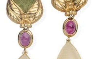 A pair of tourmaline earrings, together with a pair of pink tourmaline and Mexican opal pendants and a pair of moonstone pendants