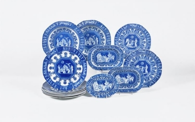 A selection of various Staffordshire manufacturers 'Etruscan' patterns blue and white printed pearlware