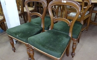 A set of 4 Victorian mahogany balloon-back dining chairs