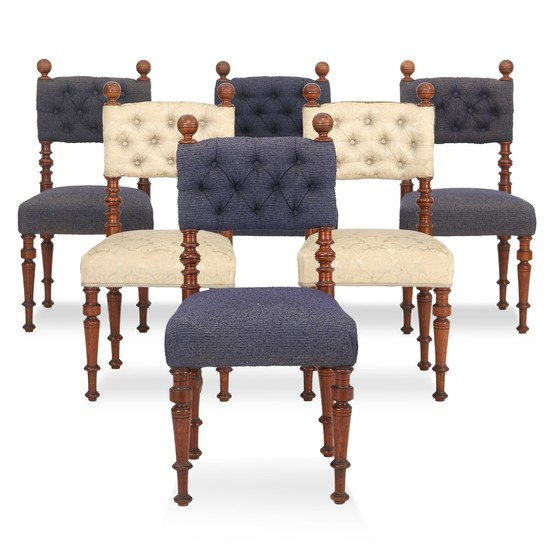 A set of six Danish walnut side chairs. Mid 19th century. (6).