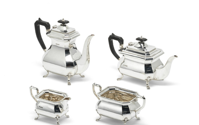 A silver five-piece tea and coffee service and tray