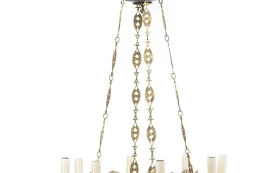 A six-light Empire style bronze chandelier. Electrical. Ca. 1920. H. 95 cm. Diam. 60 cm.