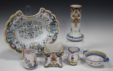 A small group of French faience, late 19th/early 20th century, including a barber's bowl, polyc