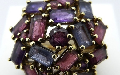 AMETHYST & TOURMALINE CLUSTER RING.