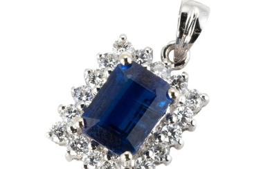 AN 18CT WHITE GOLD KYANITE AND DIAMOND PENDANT; step cut kyanite of 1.73ct to surround of 18 round brilliant cut diamonds totalling...