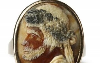 AN AGATE CAMEO DEPICTING HAYREDDIN BARBAROSSA, ITALY