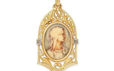 AN ART NOUVEAU DIAMODN CAMEO PENDANT in yellow gold