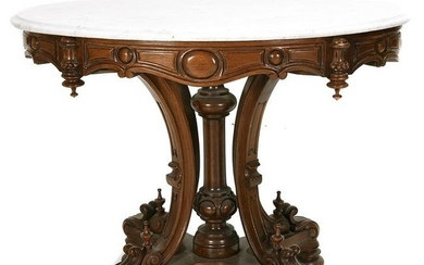 American Renaissance Revival Marble Top Oval Occasional
