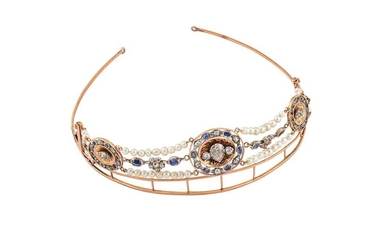 An antique sapphire, pearl and diamond tiara / necklace