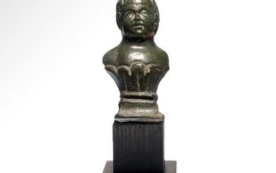 Ancient Roman Bronze Bust of a Child, Silver Inlaid Eyes