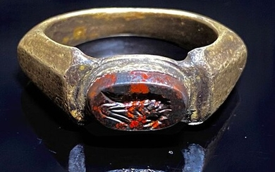 Ancient Roman Silver ring with a Bloodstone (Heliotrope ) intaglio showing a Shrimp