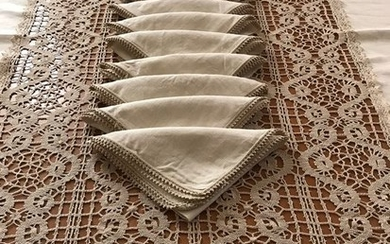Ancient hand-embroidered tablecloth (13) - Linen - 1930/1950