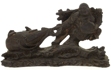 Antique Chinese Bronze Sculpture, Laughing Buddha with Sack.