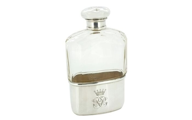 Antique Edwardian flask with glass - .925 silver, Glass - Charles Fox & Co Ltd- U.K. - Early 20th century