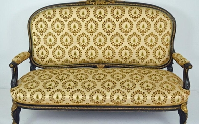 Antique Louis XIV Style Ebonized & Ormolu Sofa Settee