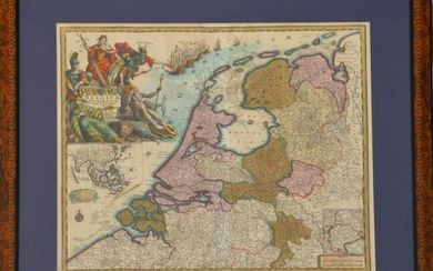Antique Map of Belgium, 19-1/2 x 22-1/2 inches framed