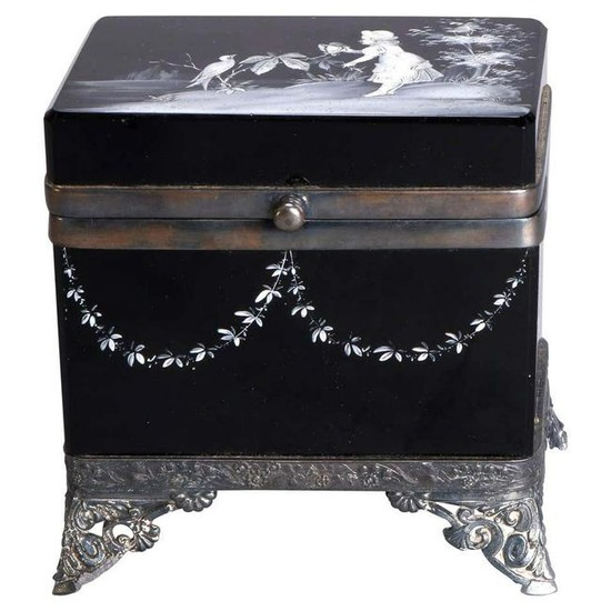Antique Victorian Mary Gregory Black Amethyst Box