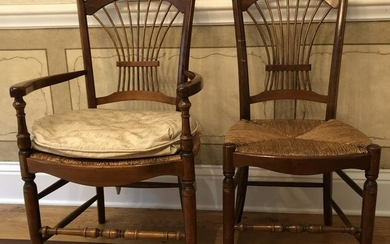 Antique Wheat Sheaf Back Side, Desk, Dining Chairs