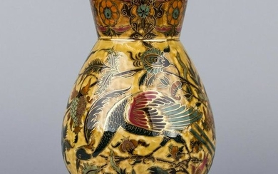 Antique Zsolnay Large Ceramic Vase with Peacocks from