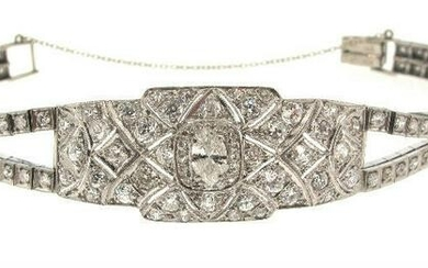 Art Deco Diamond Platinum 14k White Gold Bracelet
