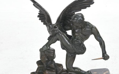 Art Deco Style Bronze Sculpture of Hercules Killing the