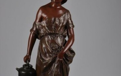 Auguste Moreau Bronze young woman with a jug brown patina stamp of Paris 19th foundry