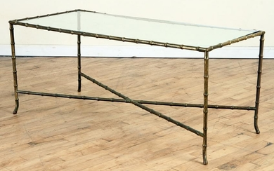 BAGUES BRONZE FAUX BAMBOO GLASS COFFEE TABLE 1940