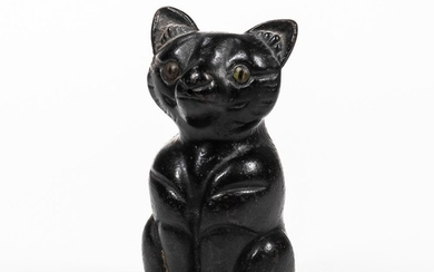 Black-painted Cast Iron Cat-form String Holder