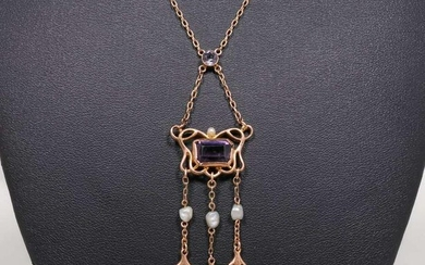 Boston A&C 10k Gold, Amethyst & Pearl Necklace c1905