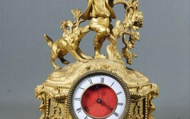 Boy And Dog Bronze Mantel Clock