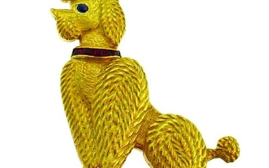 CARTIER Diamond Yellow Gold Poodle PIN BROOCH CLIP
