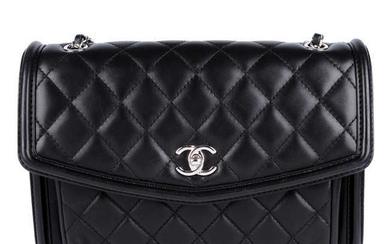 CHANEL - a black quilted leather Front Pocket Flap handbag.