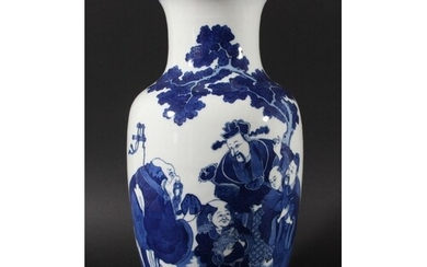 CHINESE BLUE AND WHITE VASE, of baluster form, painted with ...