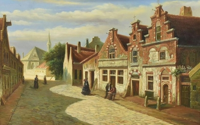 CONTINENTAL STREET SCENE SIGNED D. PLUMPTRE