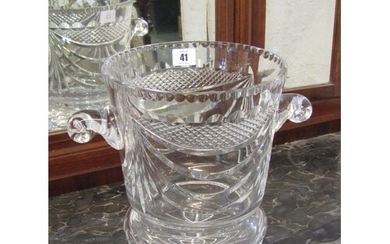 CUT GLASS, quality cut glass twin handled ice bucket, signed...