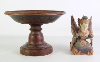Carved Timber Centre Bowl H: And Thai Carving H:20cm