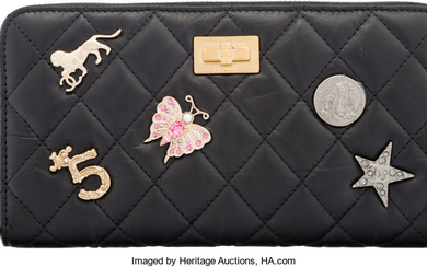 Chanel Black Aged Quilted Calfskin Leather Lucky Charms 2.55...