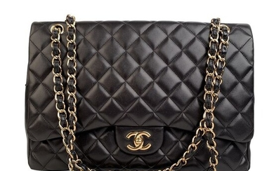 Chanel - Black Quilted Leather Maxi Classic Flap 2.55 Shoulder bag