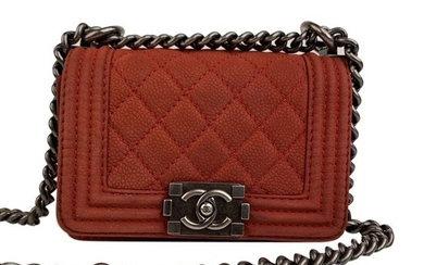 Chanel - Red Quilted Caviar Leather Mini Boy Shoulder bag